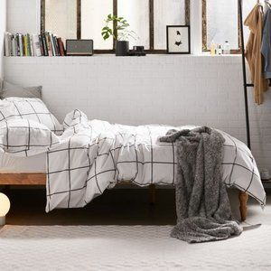 Urban Outfitters Distressed Check Duvet Set Queen